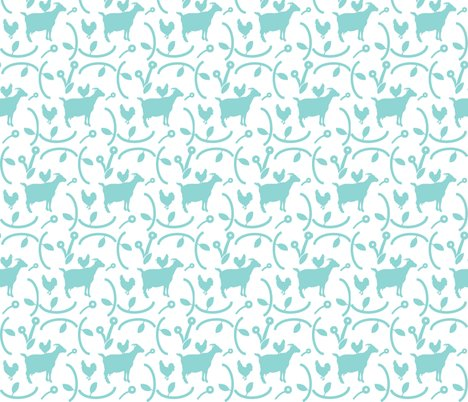 Goats_and_hens_teal_blue_on_white_shop_preview