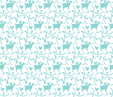 Goats and Hens Teal Blue on White, Animal Silhouettes, Farmhouse Style fabric by galleryinthegardendesigns on Spoonflower - custom fabric