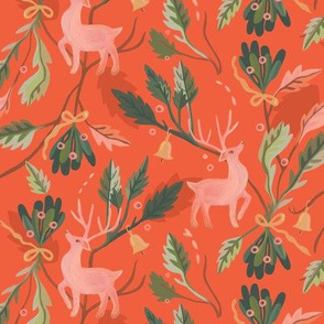 Retro Christmas Reindeer and Mistletoe