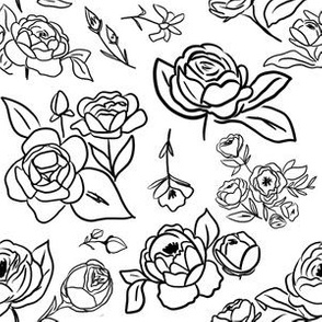 Black White Handdrawn Florals
