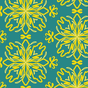 Teal Yellow Flower