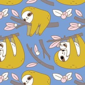 Sloth Pattern in Blue