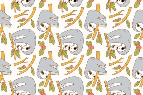 sloth pattern in ivory  fabric by noristudio on Spoonflower - custom fabric