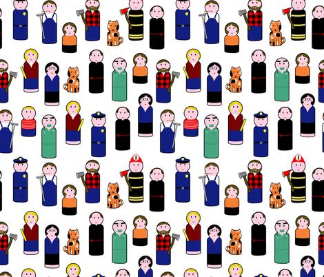 peg people fabric by b0rwear on Spoonflower - custom fabric