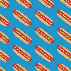 hotdogs - red on blue - food