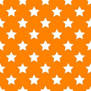 FS One Inch White Stars on Carrot Orange