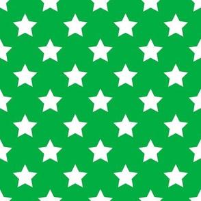 """FS 1"""" White Stars on Grass Green"""