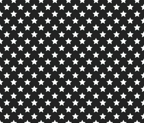 FS White Stars on Raven Black fabric by fern&sterling on Spoonflower - custom fabric