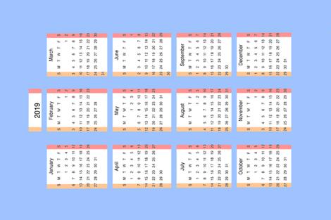 Calendar  fabric by ruthjohanna on Spoonflower - custom fabric