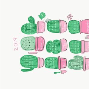Cactus Calendar 2019 // tea towel