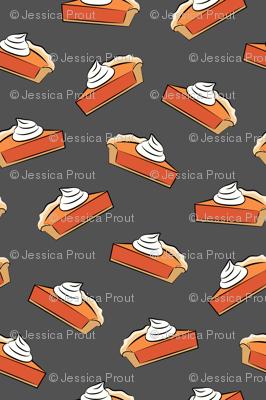 (micro scale) just one slice - pumpkin pie on dark grey C18BS