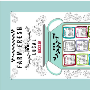 2019 tea towel calendar 27 - farm fresh mint jug floral border
