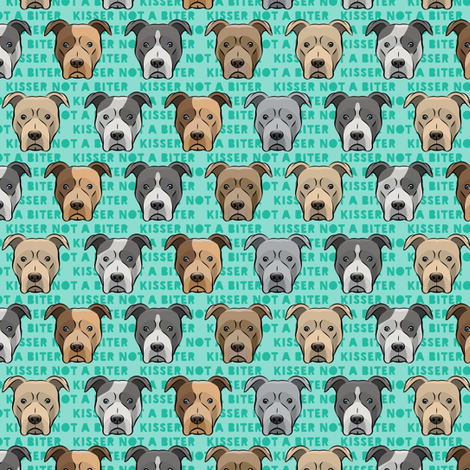 """(1.25"""" scale) kisser not a biter - pit bulls on green C18BS fabric by littlearrowdesign on Spoonflower - custom fabric"""
