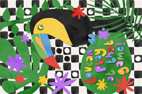 Toucan Play Tea Towel fabric by seesawboomerang on Spoonflower - custom fabric