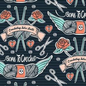 Born To Crochet Tattoo - Dark Blue Retro