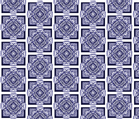 square medalion delft blue fabric by jennablackzen on Spoonflower - custom fabric