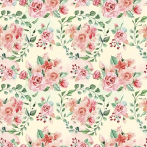 Sweet Watercolor Blush Roses on Light Cream Yellow  - Large