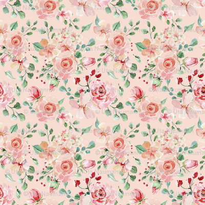 Sweet Watercolor Blush Roses on Pink - Large