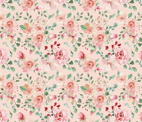 """18"""" Sweet Watercolor Blush Roses on Pink fabric by utart on Spoonflower - custom fabric"""
