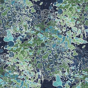 Navy Green teal white English garden floral watercolor