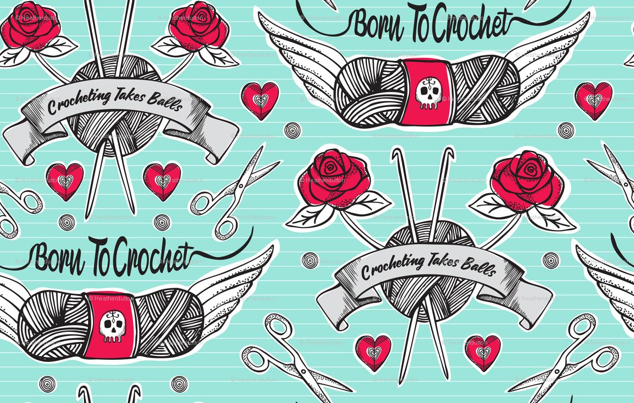 Born To Crochet Tattoo - Aqua Retro wallpaper - heatherdutton - Spoonflower e3149a88af37