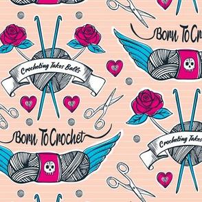Born To Crochet Tattoo - Pink