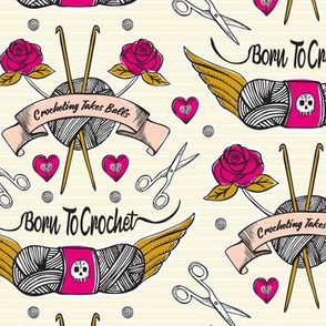 Born To Crochet Tattoo - Cream & Pink