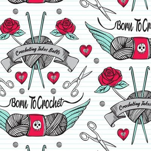 Born To Crochet Tattoo - White Retro