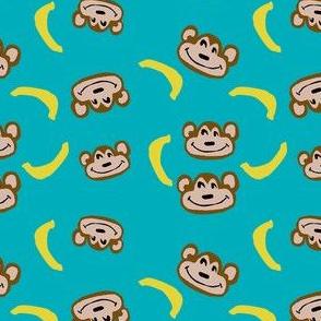 monkey pajamas fabric - blue
