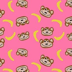 monkey pajamas fabric - pink