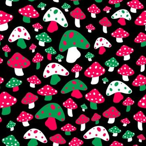 Ditsy Mushrooms in Christmas Black