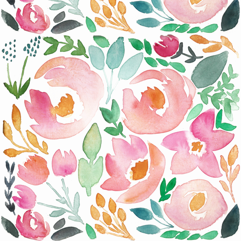 Late Summer Field of Flowers Watercolor Floral - SMALL scale  fabric by smallhoursshop on Spoonflower - custom fabric