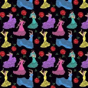 flamenco dancers pastel on black 8x8