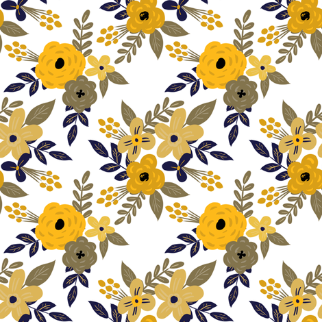 Navy and Mustard Fall Floral - SMALL scale fabric by smallhoursshop on Spoonflower - custom fabric