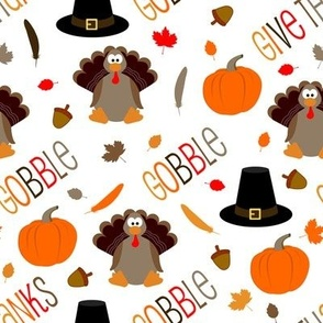 Cute Thanksgiving Pattern Turkey Gobble