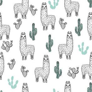 llama fabric // cute llama, cactus, nursery, baby, trendy animals, andrea lauren design fabric - white