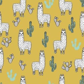 llama fabric // cute llama, cactus, nursery, baby, trendy animals, andrea lauren design fabric - mustard