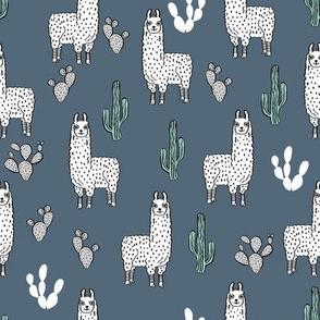 llama fabric // cute llama, cactus, nursery, baby, trendy animals, andrea lauren design fabric - blue