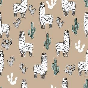 llama fabric // cute llama, cactus, nursery, baby, trendy animals, andrea lauren design fabric - khaki