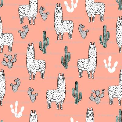 llama fabric // cute llama, cactus, nursery, baby, trendy animals, andrea lauren design fabric - peach