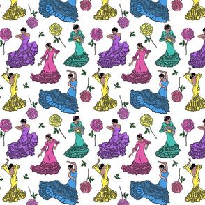 flamenco dancers pastel  8x8
