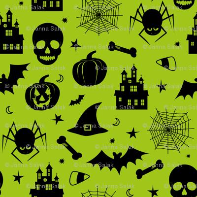 Halloween Pattern Green and Black