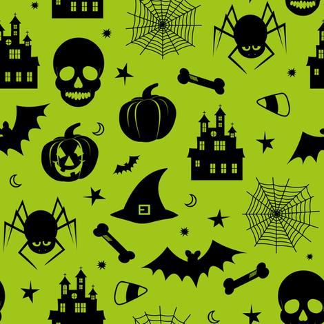 Halloween Pattern Green and Black fabric by jannasalak on Spoonflower - custom fabric