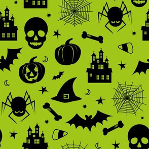 Halloween Pattern Green and Black