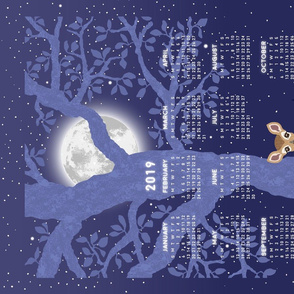 2019 tea towel forest fawns and the full moon