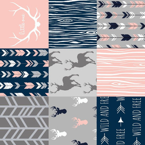 Patchwork Deer - coral, navy and grey - ROTATED