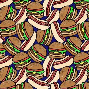 hotdogs and burgers with colors