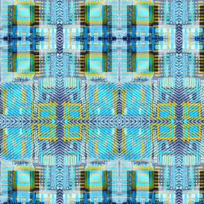 """Patchwork In Aqua Blue and Yellow"""