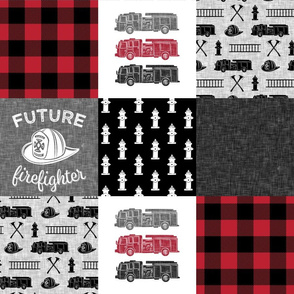 firefighter wholecloth - patchwork - red and black future firefighter (solid block) C18BS