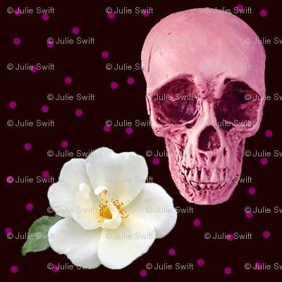 Purples Skulls and White Flowers